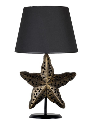 Qdec Modern Dizayn Deniz Yıldızı Abajur  Siyah
